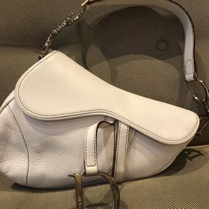 Dior White Saddle Bag